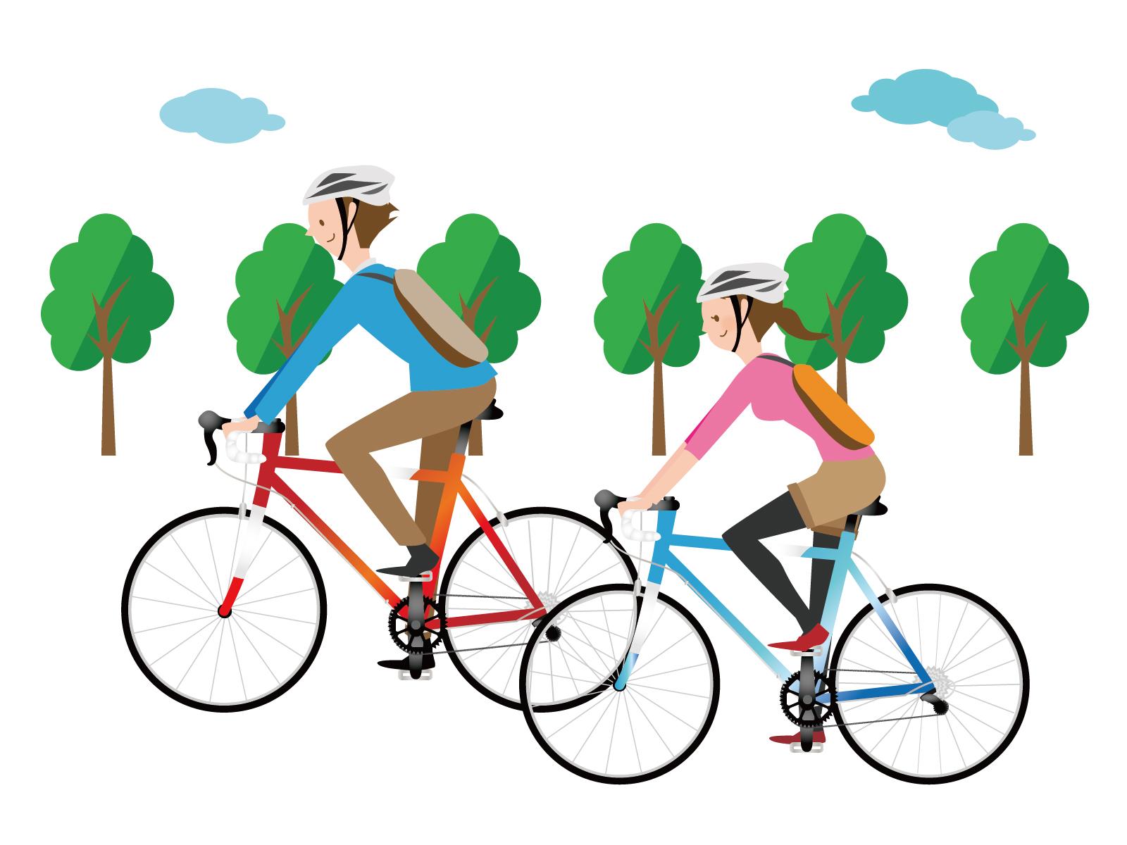 ロードバイクに乗る男性と女性